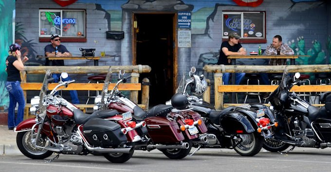 Motorcycles parked in Globe Arizona