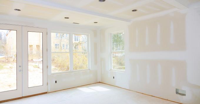 Newly sheetrocked room